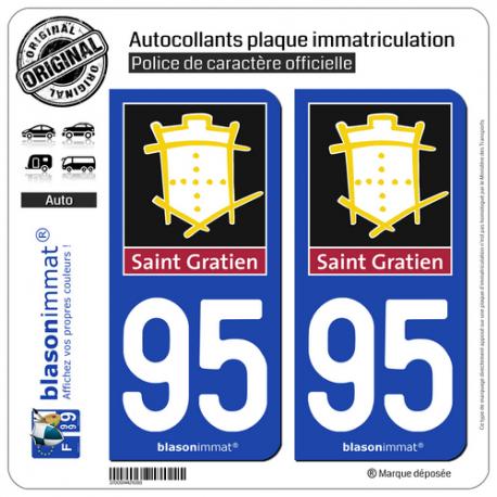 2 Autocollants plaque immatriculation Auto 95 Saint-Gratien - Ville
