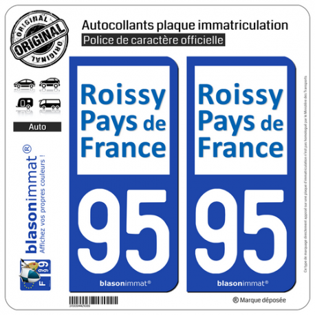 2 Autocollants plaque immatriculation Auto 95 Sarcelles - Agglo