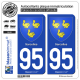2 Autocollants plaque immatriculation Auto 95 Sarcelles - Armoiries
