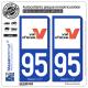 2 Autocollants plaque immatriculation Auto 95 Val-d'Oise - Département