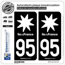 2 Autocollants plaque immatriculation Auto 95 Île de France - LogoType Black