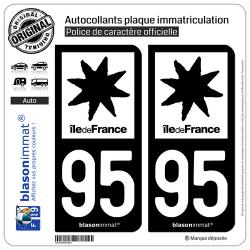 2 Autocollants plaque immatriculation Auto 95 Île de France - LogoType N&B