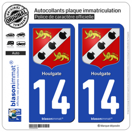 2 Autocollants plaque immatriculation Auto 14 Houlgate - Armoiries