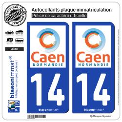 2 Autocollants plaque immatriculation Auto 14 Caen - Agglo