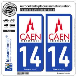 2 Autocollants plaque immatriculation Auto 14 Caen - Ville