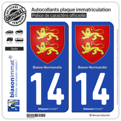 2 Autocollants plaque immatriculation Auto 14 Basse-Normandie - Armoiries