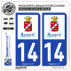 2 Autocollants plaque immatriculation Auto 14 Houlgate - Ville