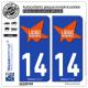 2 Autocollants plaque immatriculation Auto 14 Lisieux - Agglo