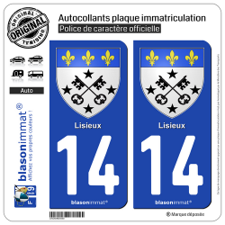 2 Autocollants plaque immatriculation Auto 14 Lisieux - Armoiries