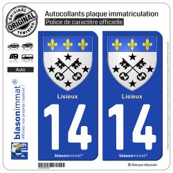 2 Autocollants plaque immatriculation Auto 14 Lisieux - Armoiries