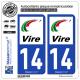 2 Autocollants plaque immatriculation Auto 14 Vire - Agglo