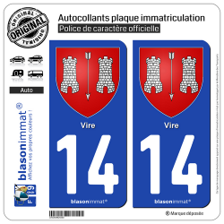 2 Autocollants plaque immatriculation Auto 14 Vire - Armoiries