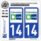 2 Autocollants plaque immatriculation Auto 14 Calvados - Département