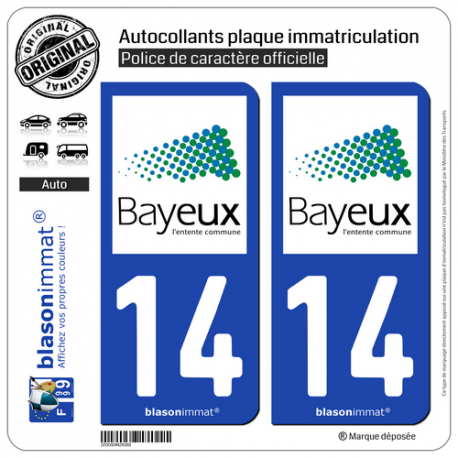 2 Autocollants plaque immatriculation Auto 14 Bayeux - Agglo
