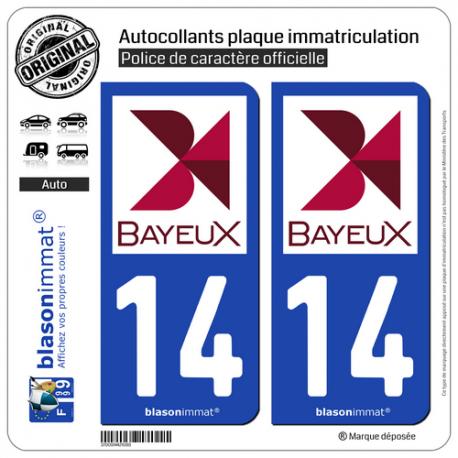 2 Autocollants plaque immatriculation Auto 14 Bayeux - Ville