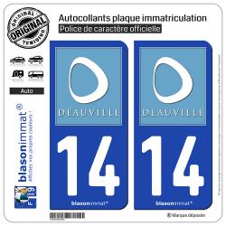 2 Autocollants plaque immatriculation Auto 14 Deauville - Tourisme
