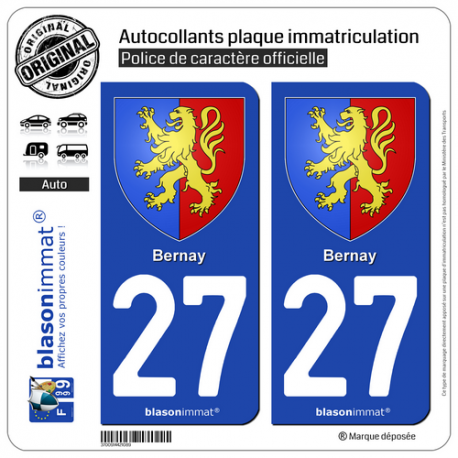 2 Autocollants plaque immatriculation Auto 27 Bernay - Armoiries