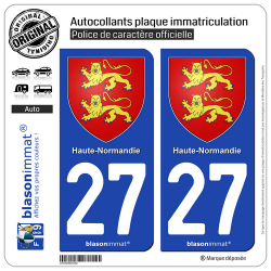 2 Autocollants plaque immatriculation Auto 27 Haute-Normandie - Armoiries