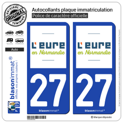 2 Autocollants plaque immatriculation Auto 27 Eure - Département