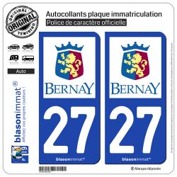 2 Autocollants plaque immatriculation Auto 27 Bernay - Ville
