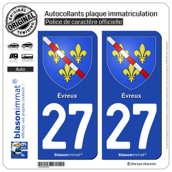 2 Autocollants plaque immatriculation Auto 27 Évreux - Armoiries