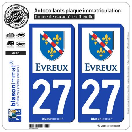 2 Autocollants plaque immatriculation Auto 27 Évreux - Ville