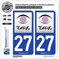2 Autocollants plaque immatriculation Auto 27 Évreux - Tourisme