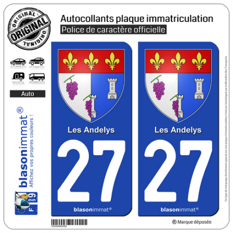2 Autocollants plaque immatriculation Auto 27 Les Andelys - Armoiries