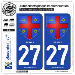 2 Autocollants plaque immatriculation Auto 27 Lieurey - Armoiries