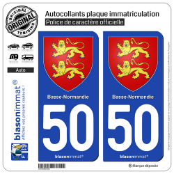 2 Autocollants plaque immatriculation Auto 50 Basse-Normandie - Armoiries