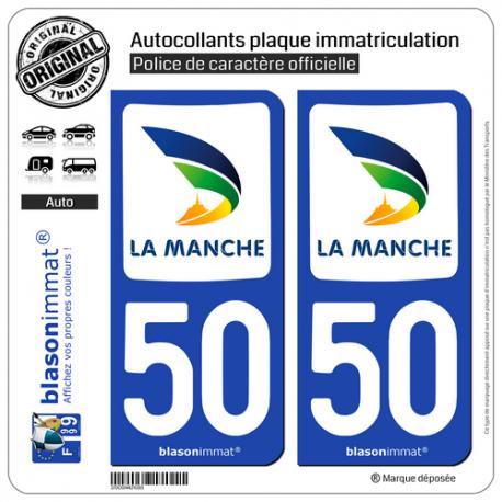 2 Autocollants plaque immatriculation Auto 50 Manche - Département