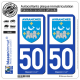 2 Autocollants plaque immatriculation Auto 50 Avranches - Ville