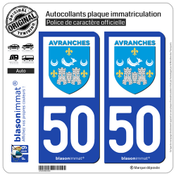 2 Autocollants plaque immatriculation Auto 50 Avranches - Ville