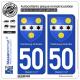 2 Autocollants plaque immatriculation Auto 50 Cherbourg-Octeville - Armoiries