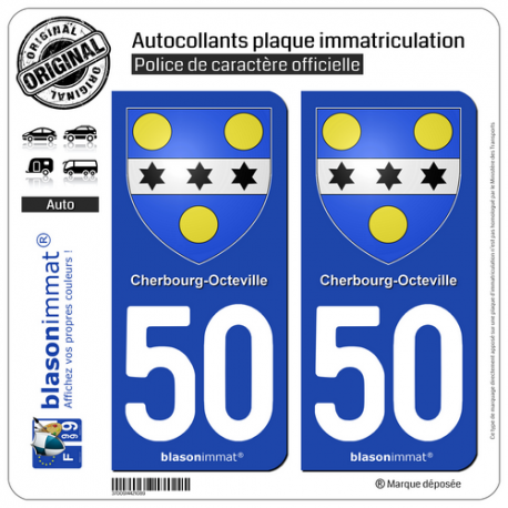 2 Autocollants plaque immatriculation Auto 50 Cherbourg-Octeville - Armoiries