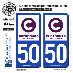 2 Autocollants plaque immatriculation Auto 50 Cherbourg-en-Cotentin - Ville