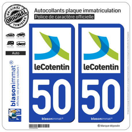 2 Autocollants plaque immatriculation Auto 50 Cherbourg-en-Cotentin - Agglo