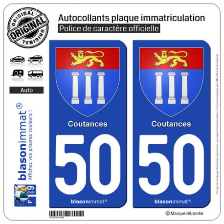 2 Autocollants plaque immatriculation Auto 50 Coutances - Armoiries