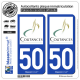2 Autocollants plaque immatriculation Auto 50 Coutances - Ville