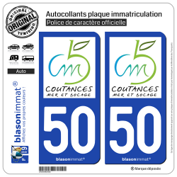 2 Autocollants plaque immatriculation Auto 50 Coutances - Agglo