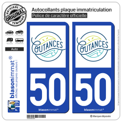 2 Autocollants plaque immatriculation Auto 50 Coutances - Tourisme