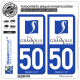 2 Autocollants plaque immatriculation Auto 50 Granville - Ville