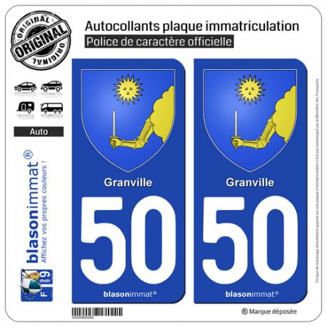 2 Autocollants plaque immatriculation Auto 50 Granville - Armoiries