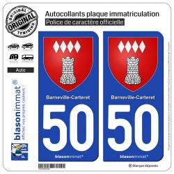 2 Autocollants plaque immatriculation Auto 50 Barneville-Carteret - Armoiries