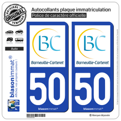 2 Autocollants plaque immatriculation Auto 50 Barneville-Carteret - Commune