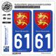 2 Autocollants plaque immatriculation Auto 61 Basse-Normandie - Armoiries