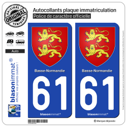 2 Autocollants plaque immatriculation Auto 61 Basse-Normandie - Armoiries