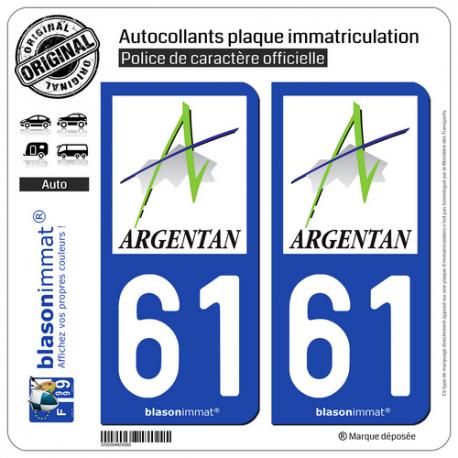 2 Autocollants plaque immatriculation Auto 61 Argentan - Ville