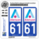 2 Autocollants plaque immatriculation Auto 61 Alençon - Ville