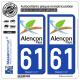 2 Autocollants plaque immatriculation Auto 61 Alençon - Tourisme